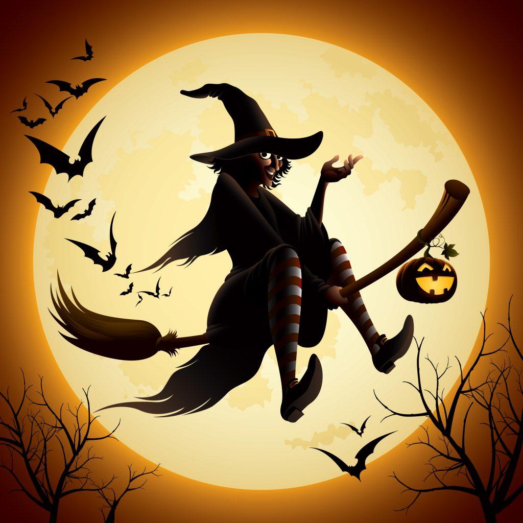 La sorcière magique sort de sa cachette...